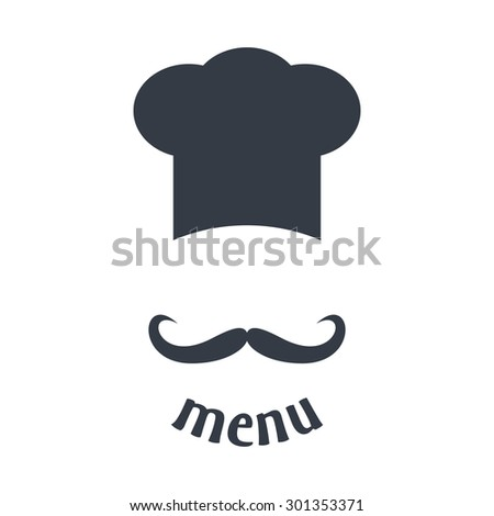 Big chef hat with mustache. Foods Service icon. Menu card. Simple flat vector illustration, EPS 10. - stock vector