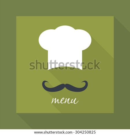 Big chef hat with mustache. Foods Service icon. Menu card with long shadow. Simple flat vector illustration, EPS 10. - stock vector