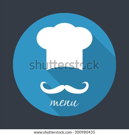Big chef hat with mustache. Foods Service round icon. Menu card with long shadow. Simple flat vector illustration, EPS 10. - stock vector