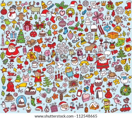 Big Christmas Collection of fine small hand drawn illustrations - stock vector