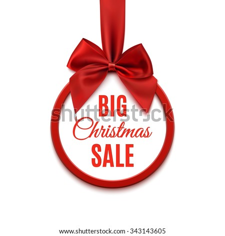 Big Christmas sale, round banner with red ribbon and bow, isolated on white background. Vector illustration. - stock vector