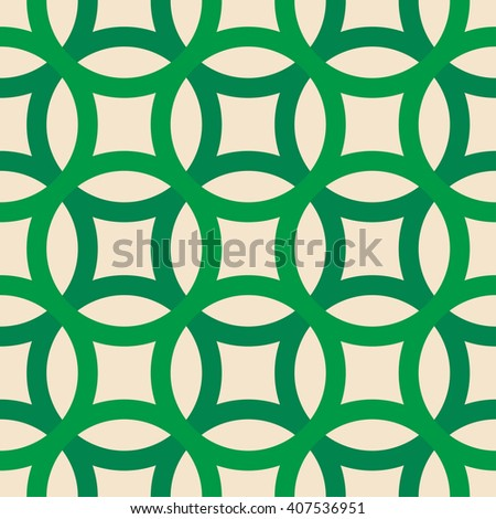 Big circles crossed seamless pattern green - stock vector
