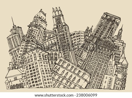 Big city, architecture, engraved illustration, hand drawn, conceptual sketch - stock vector