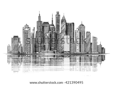 Big city architecture. Skyscrapers. Vintage sketch vector illustration