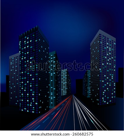 Big city at night, city rode with car light, skycrapers vector. - stock vector