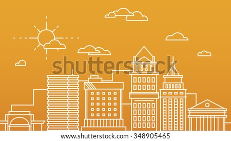 Big city business center skyscrapers megapolis buildings in linear flat design concept real estate architecture, commercial building and offices - stock vector