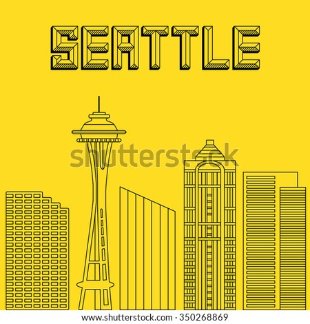 Big city day in a flat style. Buildings famous cities in the form of lines. Poster or banner for an event in the city - Seattle. Big city in the USA - Seattle.  - stock vector