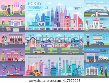 Big City Infographic set with charts and other elements. Vector illustration. - stock vector