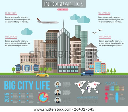 Big city life infographics with road, tall buildings, skyscrapers, car, bicycle, plane. Flat style design. Vector illustration with place for text. - stock vector