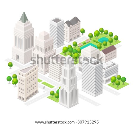 Big city. Set of the isometric vector elements. Skyscrapers, park with ponds, ?ity buildings  and shops. - stock vector