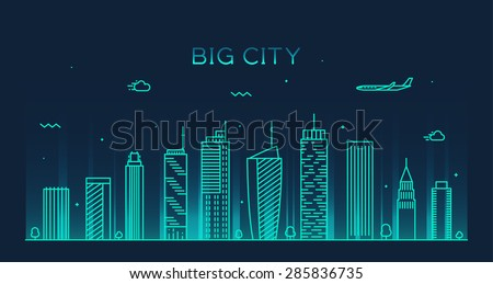 Big city skyline at night, detailed silhouette. Trendy vector illustration, linear style. - stock vector
