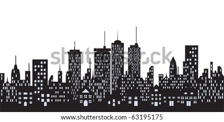 Big city skyline with tall buildings