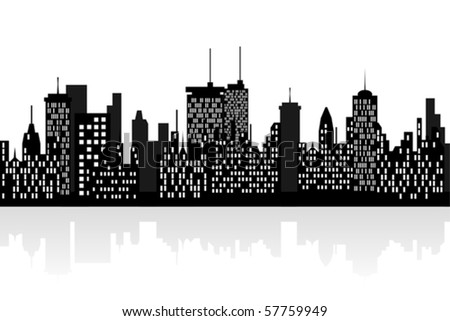 Big city skyline with tall skyscrapers