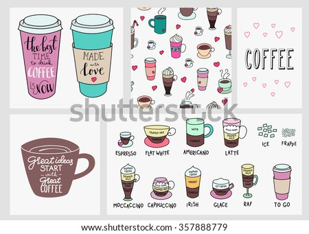Big coffee shop set. Quote lettering on coffee cup shape set. Calligraphy style coffee quote. Coffee shop promotion motivation. Coffee background. Coffeee types. Made with love. - stock vector