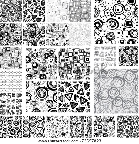 Big collection black-white seamless textures. - stock vector