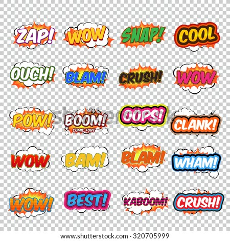Big collection colorful speech bubbles and explosions in pop art style. Elements of design comic books. Zap, snap, ouch, blam, wow, oops, clank and other from different comic fonts. - stock vector