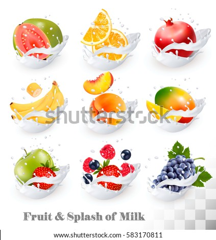 Big collection icons of fruit in a milk splash. Guava, banana, orange, apple, grapes, strawberry, pomegranate, peach, mango. Vector Set