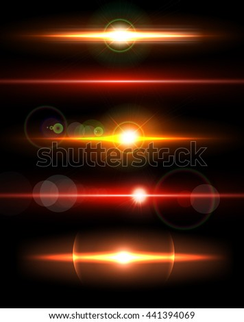 Big collection of beautiful bright lens flares. Lighting effects of flash. Easy to use. - stock vector
