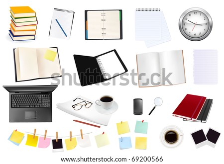 Big collection of business and office supplies. Vector. - stock vector