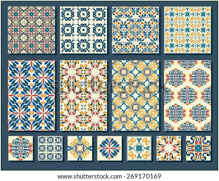 Big Collection of 7 ceramic tiles and 8 patterns, blue-orange style - stock vector