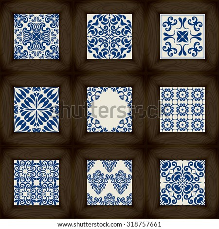 Big Collection of 9 ceramic tiles - patterns, Wood and blue ceramic tiles - stock vector