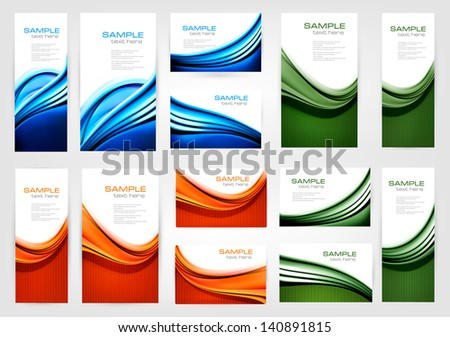 Big collection of colorful business cards. Vector illustration. - stock vector