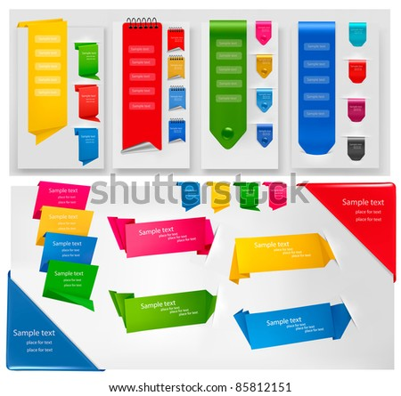 Big collection of colorful origami paper banners and stickers. Vector illustration. - stock vector