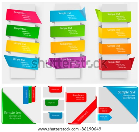 Big collection of colorful origami paper banners and stickers. Vector illustration - stock vector