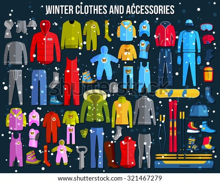Big collection of cozy winter clothes and winter sport games accessories for women, men and children. Skiing, snowboard, boots, glasses. Flat style design icons set. Vector illustration.  - stock vector