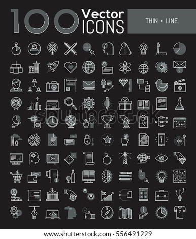 Big collection of 100 creative pictograms in thin line style - marketing, project management, money, sports competitions, e-learning, e-commerce, global networking, traveling. Vector illustration.