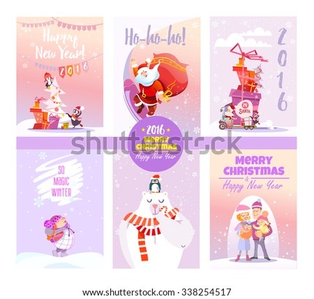 big collection cute christmas card templates winter stock vector