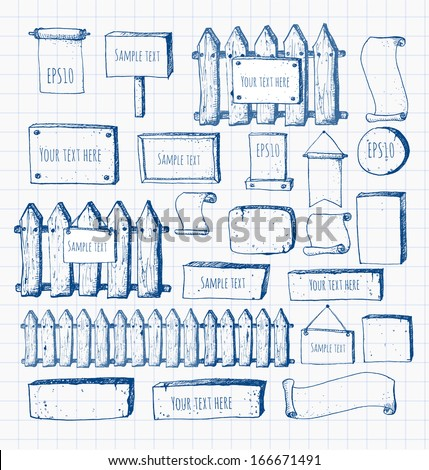 Big collection of cute pen sketch rustic backgrounds on squared paper. Fences, plates, announcement boards and other objects. Hand-drawn with ink. Vector sketch illustration.