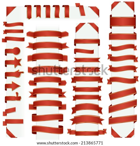big collection of design retro banners red - stock vector