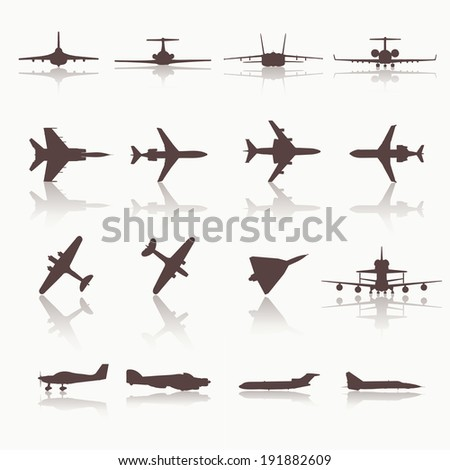Big collection of different airplane icons. Vector. Illustration.