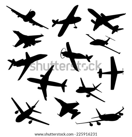 Big collection of different airplane silhouettes. vector plane - stock vector