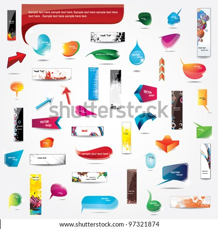 Big Collection of elements for web design - stock vector