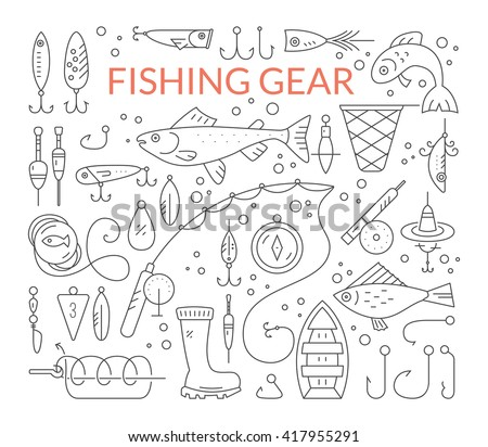 Big collection of fishing gear - fishing rod, fishing tackle, fishing bobber and floater, salmon, trout, boat. Vector line style set of fishing clipart. - stock vector