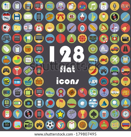 Big collection of flat icons - Transport, Communication, Sport, Multimedia, Music, Weather, Etc. - stock vector