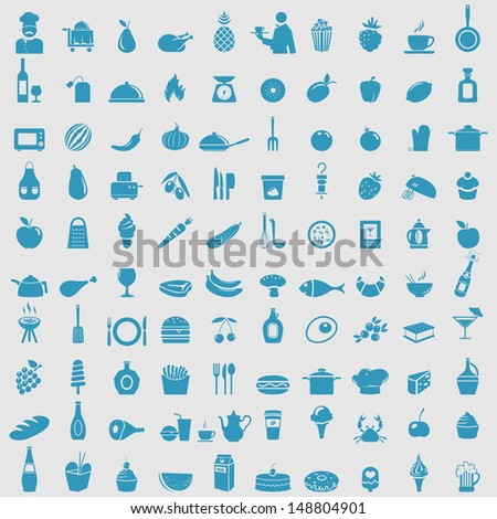 Big collection of food icons. Vector  - stock vector