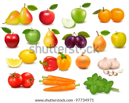 Big collection of fruits and vegetables  Vector illustration - stock vector