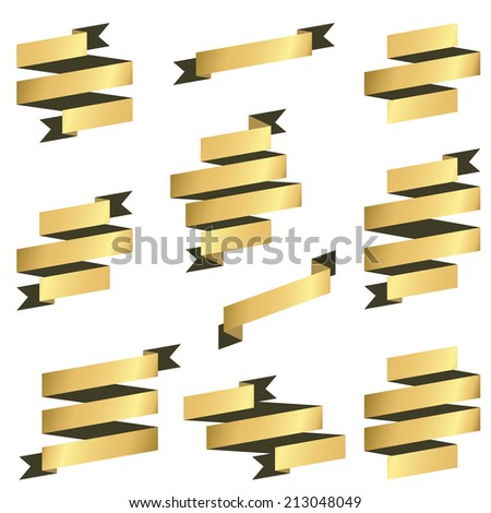 big collection of gold retro banners vector - stock vector