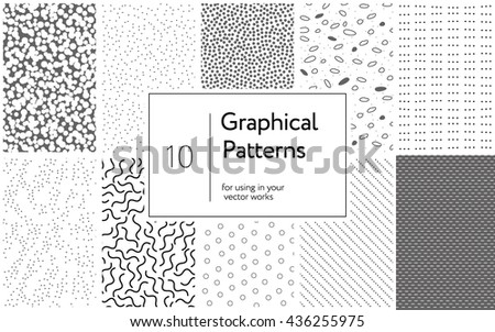Big collection of 10 Graphical Patterns for your design. Abstract simple textures with dots and lines.