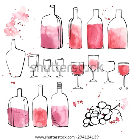 Big collection of hand drawn elements, art prints in trendy style with watercolor stains - vintage wine design. - stock vector