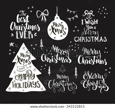 Big collection of handdrawn Merry Christmas and Happy Holidays signs. Vector lettering with rough texture. Handdrawn art on chalk background. - stock vector
