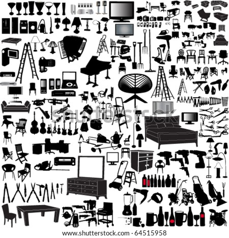 big collection of home items - vector - stock vector