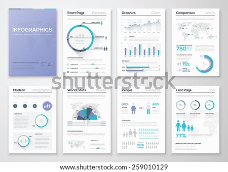 Big collection of infographic business brochures and graphics. Use for workflow layout, diagram, number options, step up options, web template, infographics, websites, brochures, flyers and prints. - stock vector