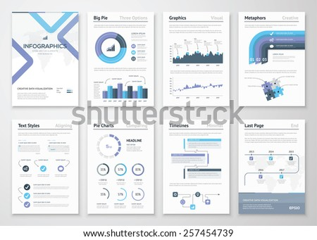Big collection of infographic elements and business brochures. Modern styled graphics for data visualization. Use in website, flyer, corporate report, presentation, advertising, marketing etc. - stock vector