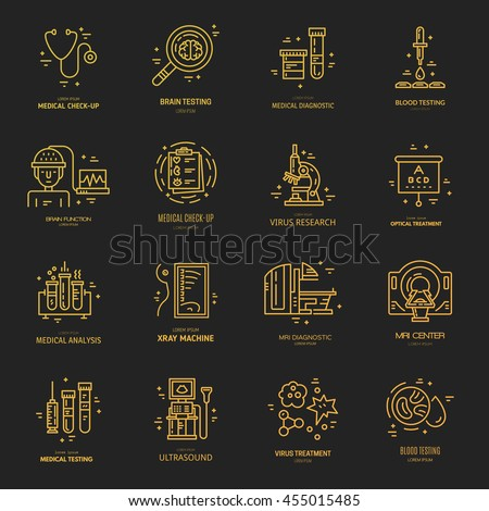 Big collection of medical logos with different medical symbols - MRI, microscope, blood testing. Label for research center, hospital, lab made in modern line style vector. - stock vector