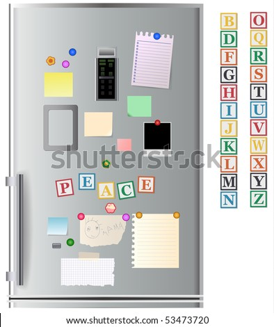 Big collection of message paper and ABC magnets on the refrigerator, vector illustration, Georgia font