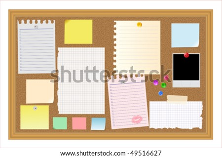 Big collection of message paper on the cork panel, vector illustration - stock vector